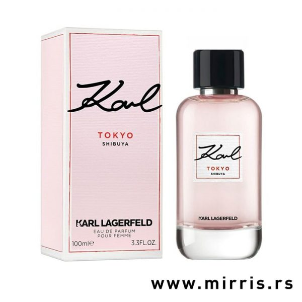 Bočica parfema Karl Lagerfeld Tokyo pored roze kutije