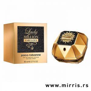 Boca ženskog parfema Paco Rabanne Lady Million Fabulous pored originalne kutije