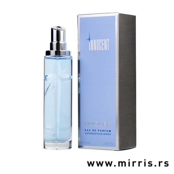 Boca ženskog mirisa Thierry Mugler Innocent pored plave kutije