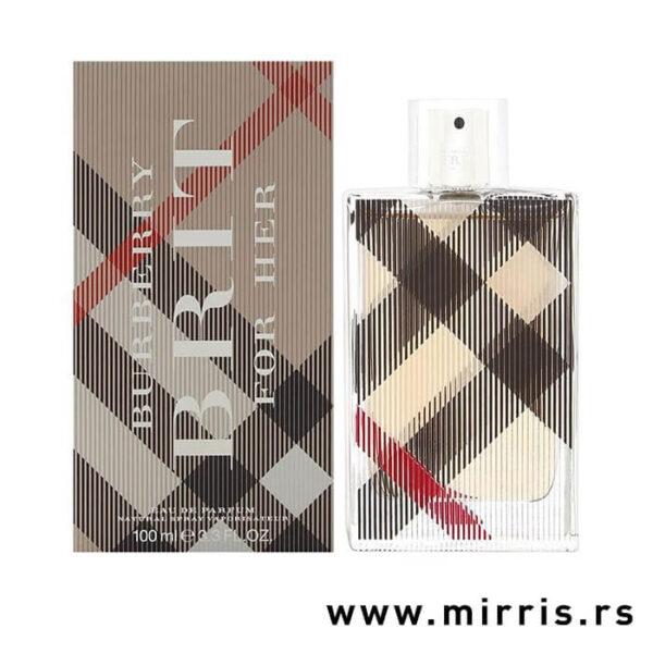 Bočica parfema Burberry Brit For Her pored originalne kutije