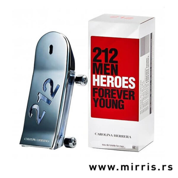 Bočica muškog mirisa Carolina Herrera 212 Men Heroes pored kutije